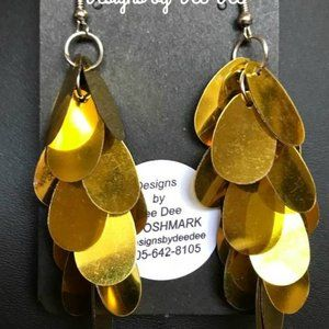 Silver and Gold Tone Flashy Drop Earrings